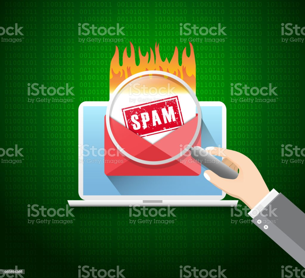 cyber crime spam concept with e mail message alert spam virus