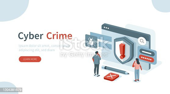Laptop with Cyber Attack Sign. Identity Theft, Stealing Personal Information and Data. Password Security. Cyber Crime and Internet Criminal Concept. Flat Isometric Vector Illustration.