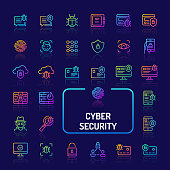 Simple gradient color icons isolated over dark background related to cyberspaces and digital security. Vector signs and symbols collections for website and app..