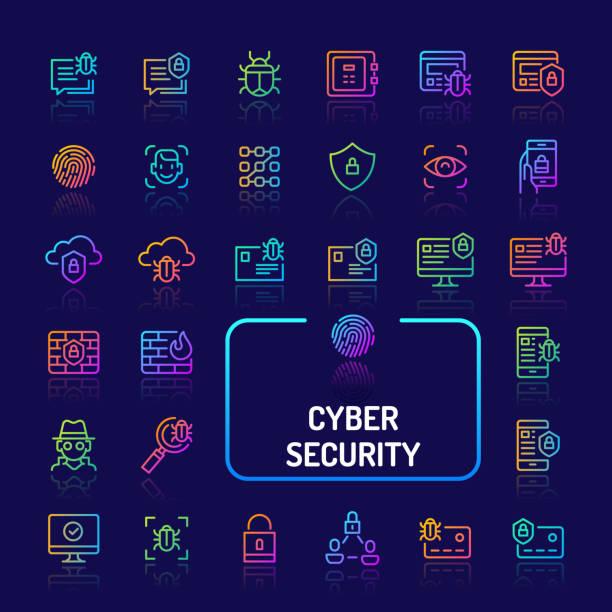ilustraciones, imágenes clip art, dibujos animados e iconos de stock de cyber & icono de línea de gradiente de seguridad digital sistema (eps 10) - robo de identidad