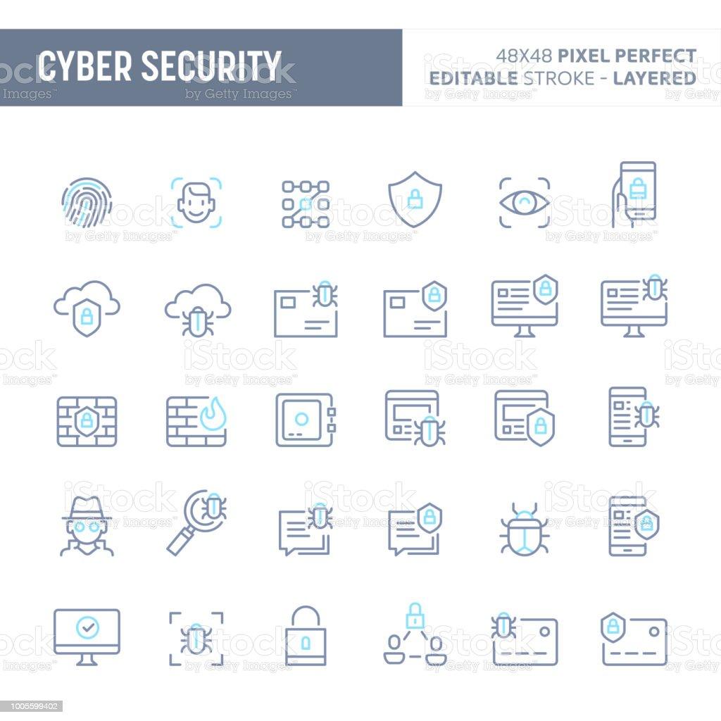 Cyber & digitale Sicherheit Minimal Vektor Icon Set (EPS 10) – Vektorgrafik