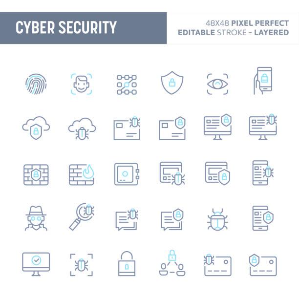 ilustraciones, imágenes clip art, dibujos animados e iconos de stock de cyber y seguridad digital mínima vector icono sistema (eps 10) - robo de identidad