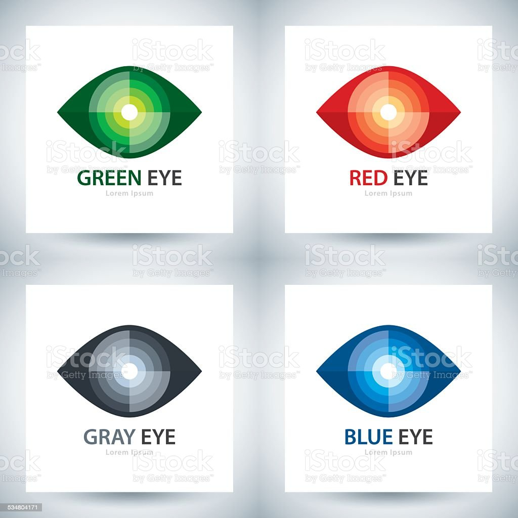 Cyber eye icon set vector art illustration