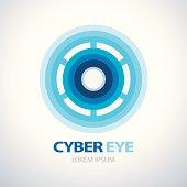 Cyber blue eye symbol icon. vector illustration