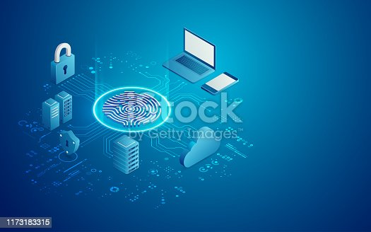 concept of cyber security technology, futuristic fingerprint with data system in isometric
