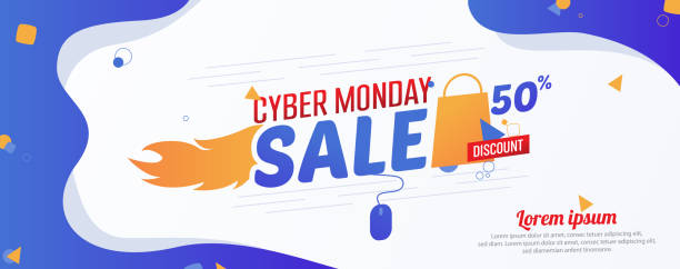 Cyber Monday 50% Sale Advertising Banner Vector Template vector art illustration
