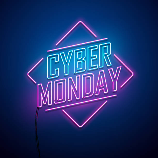 cyber monday background. neon sign. - cyber monday stock illustrations