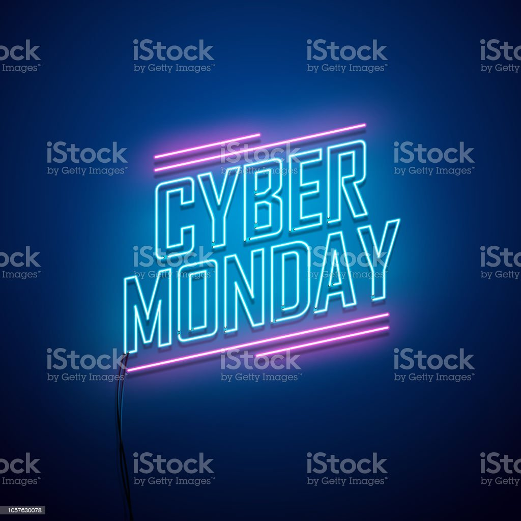 Cyber Monday background. Neon sign. - Векторная графика Абстрактный роялти-фри
