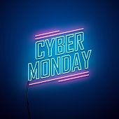 Cyber Monday background. Neon sign.