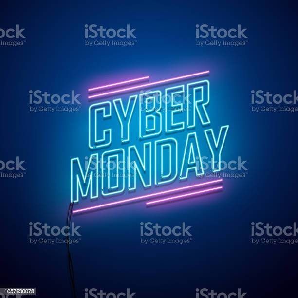 Cyber Monday Background Neon Sign Stock Illustration - Download Image Now