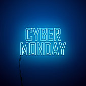 Cyber Monday background. Neon sign. Vector illustration.
