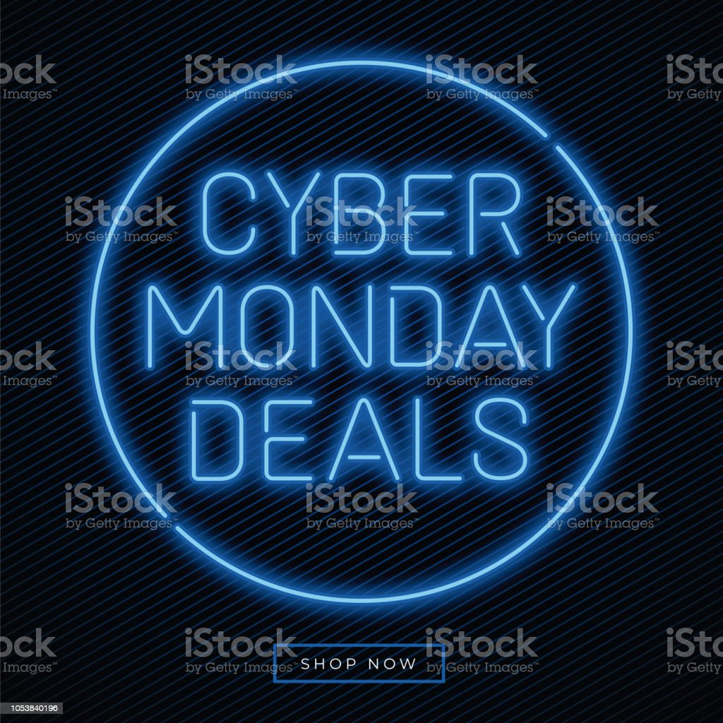 Cyber Monday banner in fashionable neon style, luminous signboard, nightly advertising advertisement of sales rebates of cyber Monday. - Векторная графика Бизнес роялти-фри