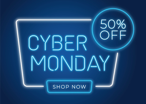 Cyber Monday banner in fashionable neon style, luminous signboard, nightly advertising advertisement of sales rebates of cyber Monday.