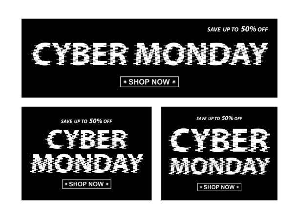 cyber monday black banners. vector different proportion banners with cyber monday text. - cyber monday stock illustrations
