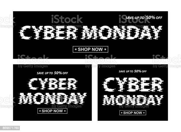 Cyber Monday Black Banners Vector Different Proportion Banners With Cyber Monday Text — стоковая векторная графика и другие изображения на тему Black Friday
