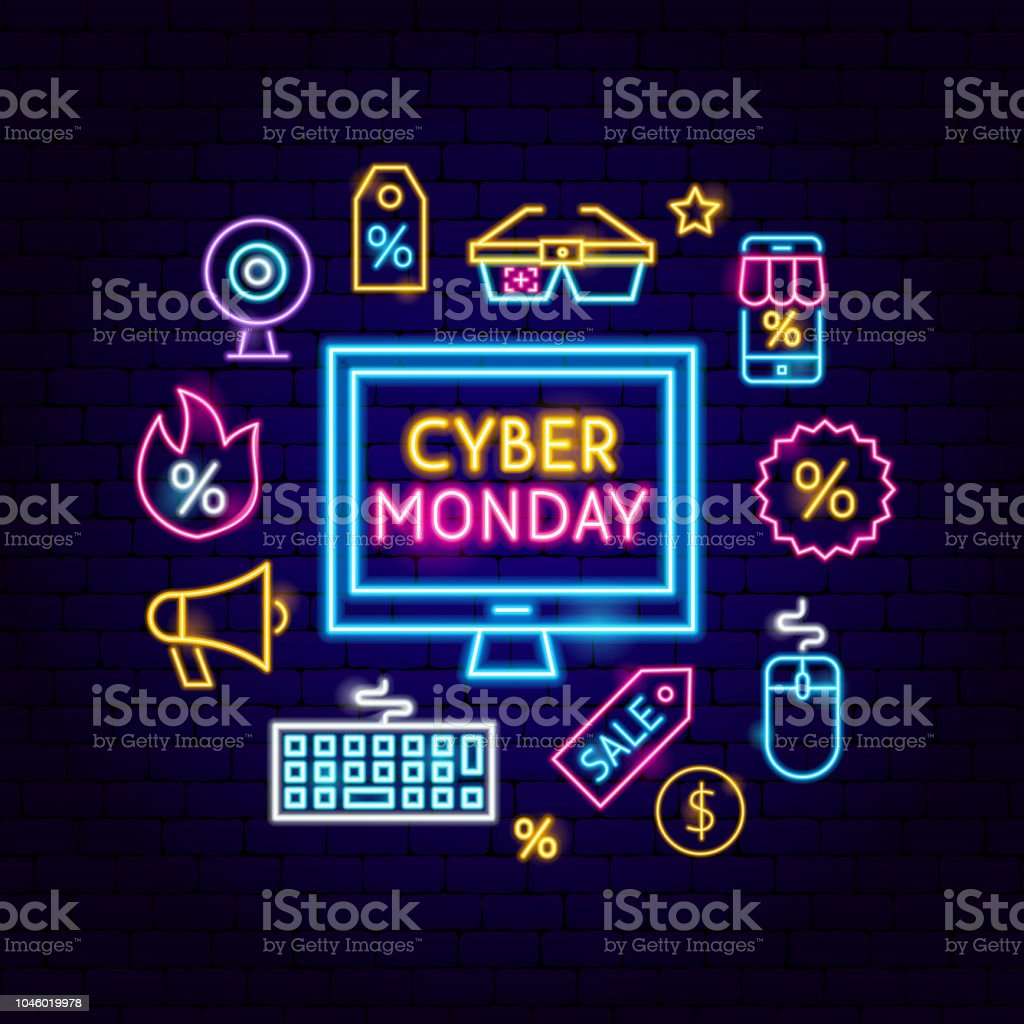 Cyber Monday Computer Neon Concept Cyber Monday Computer Neon Concept. Vector Illustration of Shopping Sale Promotion. Backgrounds stock vector