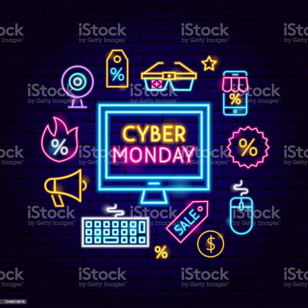 Cyber Monday Computer Neon Concept - Векторная графика Баннер - знак роялти-фри