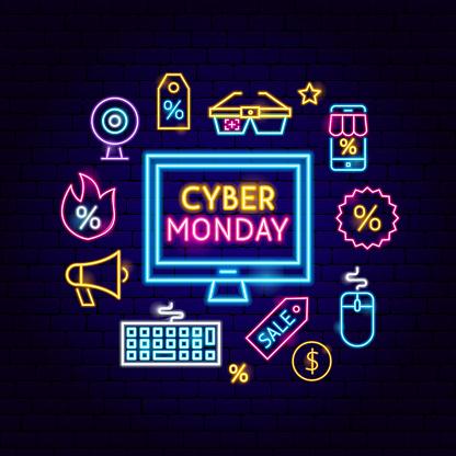 Cyber Monday Computer Neon Concept