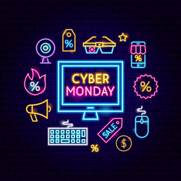 cyber monday computer neon concept - cyber monday stock illustrations