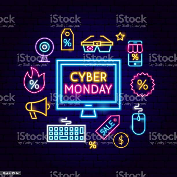 Cyber Monday Computer Neon Concept Stock Illustration - Download Image Now