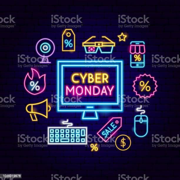 Cyber Monday Computer Neon Concept — стоковая векторная графика и другие изображения на тему Баннер - знак