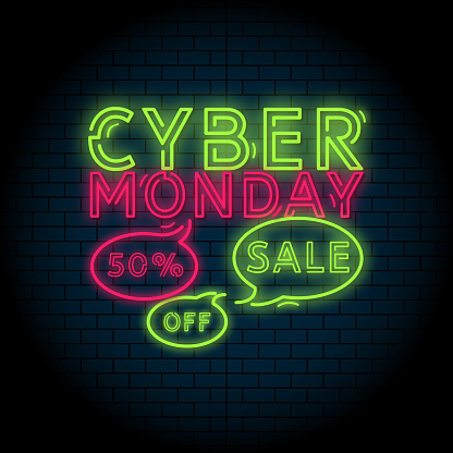 Cyber Monday concept banner design. Retro style poster. Green and pink neon letters on brick wall background