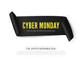 Cyber Monday curved paper banner