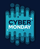 Cyber Monday layered lines modern abstract motion pattern message with space for copy.