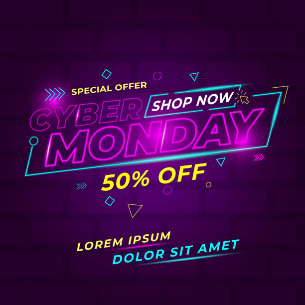 cyber monday design conceptual - cyber monday stock illustrations