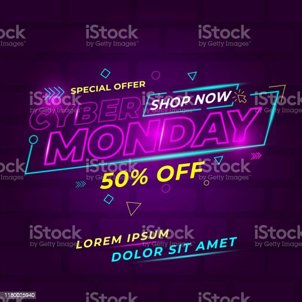 Cyber Monday Design Conceptual Stock Illustration - Download Image Now