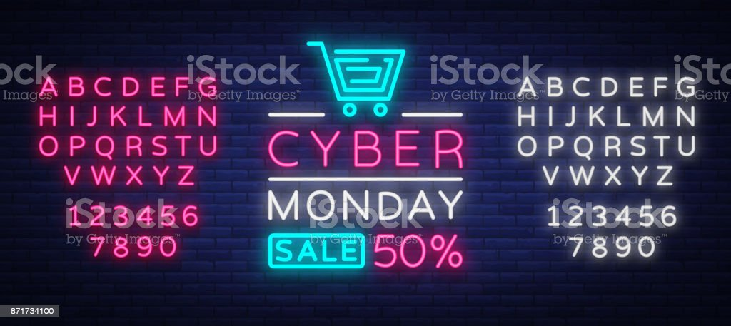 Cyber Monday, discount sale concept illustration in neon style, online shopping and marketing concept, vector illustration. Neon luminous signboard, bright banner. Editing text neon sign royalty-free cyber monday discount sale concept illustration in neon style online shopping and marketing concept vector illustration neon luminous signboard bright banner editing text neon sign stock illustration - download image now