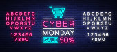 Cyber Monday, discount sale concept illustration in neon style, online shopping and marketing concept, vector illustration. Neon luminous signboard, bright banner. Editing text neon sign