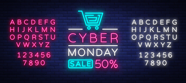Cyber Monday Discount Sale Concept Illustration In Neon Style Online Shopping And Marketing Concept Vector Illustration Neon Luminous Signboard Bright Banner Editing Text Neon Sign Stock Illustration - Download Image Now