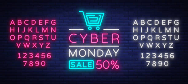 cyber monday, discount sale concept illustration in neon style, online shopping and marketing concept, vector illustration. neon luminous signboard, bright banner. editing text neon sign - dane finansowe stock illustrations