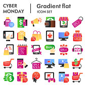 Cyber monday flat icon set, sales and discount symbols collection, vector sketches, logo illustrations, online shopping signs color gradient pictograms package isolated on white background, eps 10