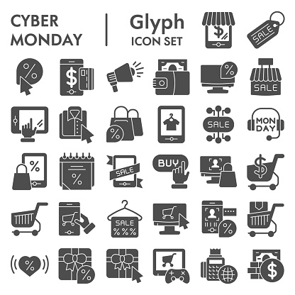 Cyber monday glyph icon set, sales and discount symbols collection, vector sketches, logo illustrations, online shopping signs solid pictograms package isolated on white background, eps 10.
