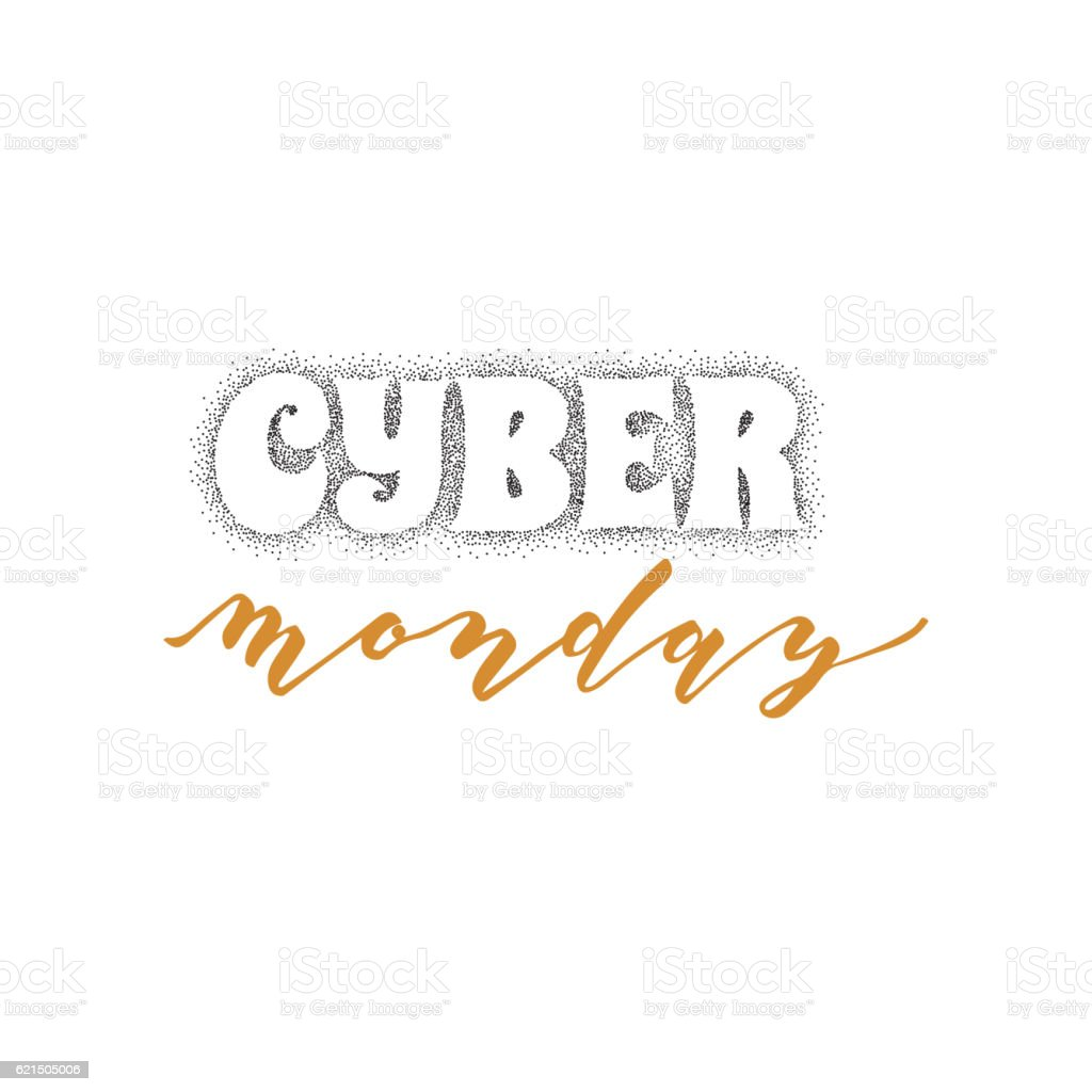 Cyber monday hand-lettering text . Handmade vector calligraphy for your cyber monday handlettering text handmade vector calligraphy for your – cliparts vectoriels et plus d'images de affaires libre de droits