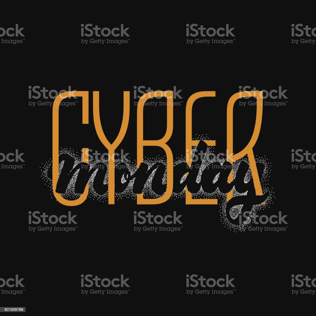 Cyber monday hand-lettering text . Handmade vector calligraphy for your Lizenzfreies cyber monday handlettering text handmade vector calligraphy for your stock vektor art und mehr bilder von cyborg