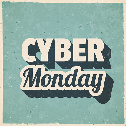 Cyber Monday. Icon in retro vintage style - Old textured paper