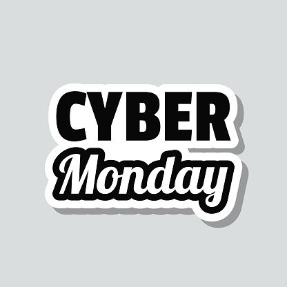 Cyber Monday. Icon sticker on gray background