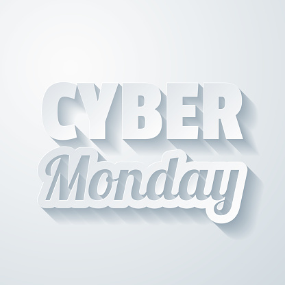 Cyber Monday. Icon with paper cut effect on blank background