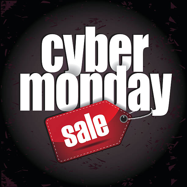 Cyber Monday layered design with sale tag Cyber Monday layered design with sale tag cyber monday stock illustrations