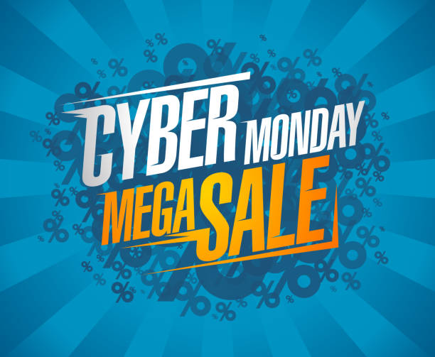 Cyber monday mega sale, clearance discounts Cyber monday mega sale, clearance discounts poster concept commercial event stock illustrations