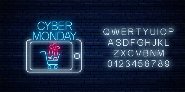cyber monday neon advertising banner of mobile app sale with alphabet. discounts and sales in smartphone application - cyber monday stock illustrations