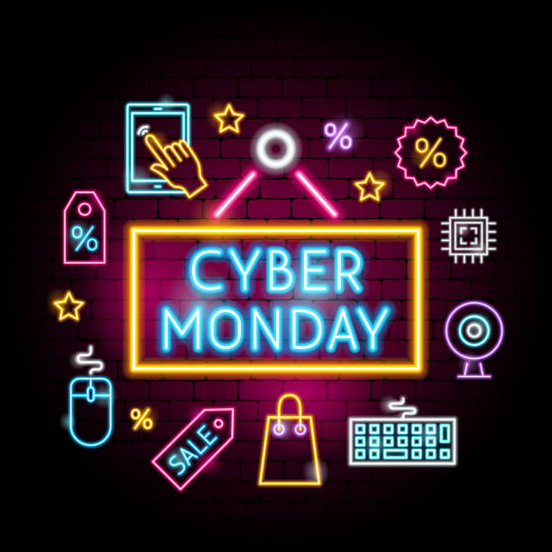 cyber monday neon concept - cyber monday stock illustrations