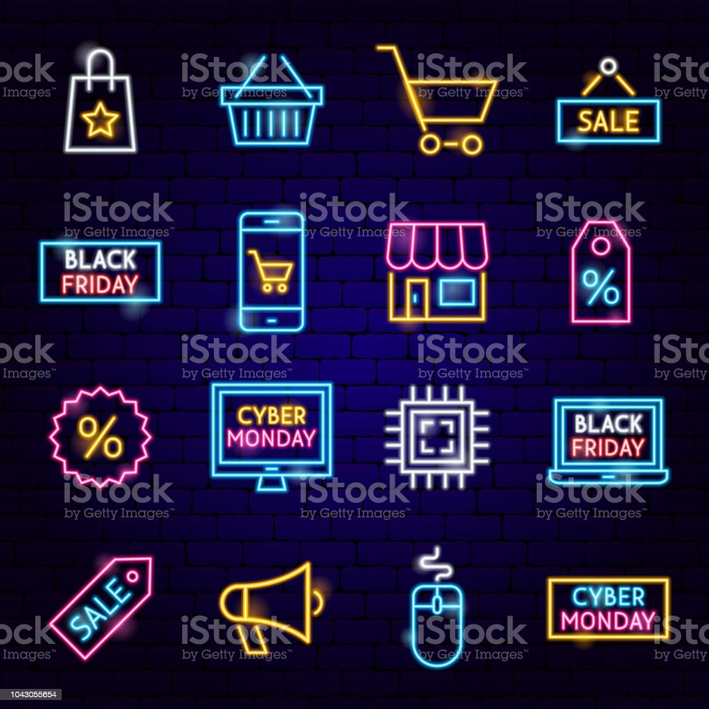 Cyber Monday Neon Icons Cyber Monday Neon Icons. Vector Illustration of Shopping Sale Symbols. Backgrounds stock vector