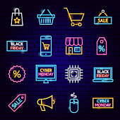 Cyber Monday Neon Icons. Vector Illustration of Shopping Sale Symbols.