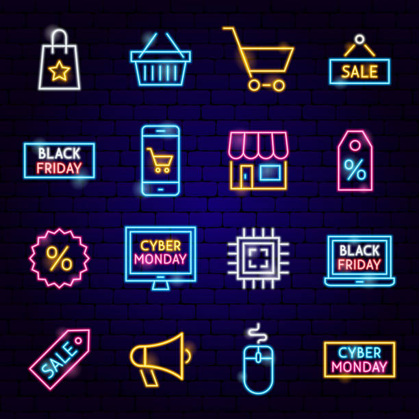 cyber pazartesi neon simgeler - cyber monday stock illustrations