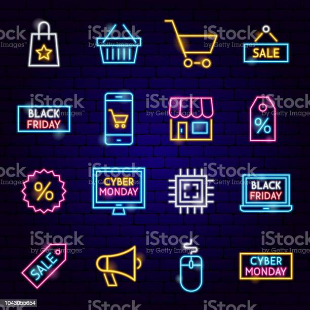Cyber Monday Neon Icons Stock Illustration - Download Image Now