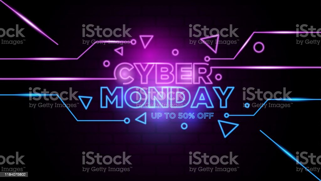 Cyber monday neon sign Background Vector Cyber monday neon sign Background Vector Backgrounds stock vector